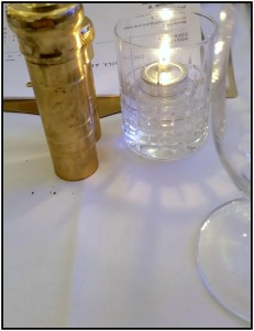 The lovely brass salt and pepper mills grace every table at Lockbox.